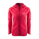 Ladies Tech Fleece Full Zip Hot Pink Hooded Jacket-Greek Letters - One Color
