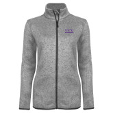 Grey Heather Ladies Fleece Jacket-Greek Letters - One Color