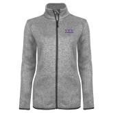 Grey Heather Ladies Fleece Jacket-Greek Letters - One Color