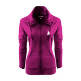 Ladies Sport Wick Stretch Full Zip Deep Berry Jacket-Sailboat