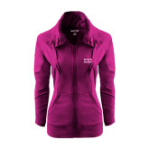 Ladies Sport Wick Stretch Full Zip Deep Berry Jacket-Greek Letters - One Color
