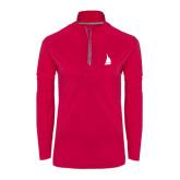Ladies Pink Raspberry Sport Wick 1/4 Zip Pullover-Sailboat