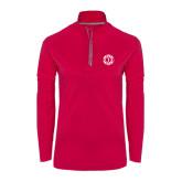 Ladies Pink Raspberry Sport Wick 1/4 Zip Pullover-Monogram in Circle