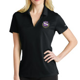 Ladies Nike Golf Dri Fit Black Micro Pique Polo-Crest