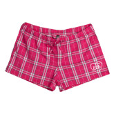 Ladies Dark Fuchsia/White Juniors Flannel Plaid Boxer-Little in Heart