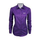 Ladies Purple Twill Button Down Long Sleeve-Greek Letters - One Color