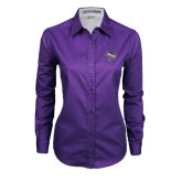 Ladies Purple Twill Button Down Long Sleeve-Crest