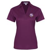 Ladies Purple Performance Fine Jacquard Polo-Crest