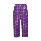 Ladies Purple/White Flannel Pajama Pant-Monogram in Circle