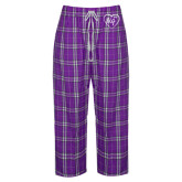 Ladies Purple/White Flannel Pajama Pant-Big in Heart