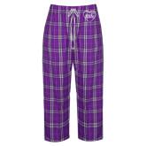 Ladies Purple/White Flannel Pajama Pant-Little in Heart