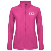 Ladies Fleece Full Zip Raspberry Jacket-Greek Letters - One Color