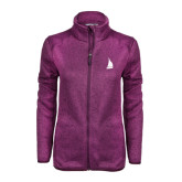 Dark Pink Heather Ladies Fleece Jacket-Sailboat