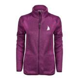 Dark Pink Heather Ladies Fleece Jacket-Sailboat