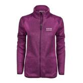 Dark Pink Heather Ladies Fleece Jacket-Greek Letters - One Color