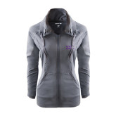 Ladies Sport Wick Stretch Full Zip Charcoal Jacket-Greek Letters - One Color
