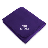 Purple Arctic Fleece Blanket-Tri Sigma Stacked - Official