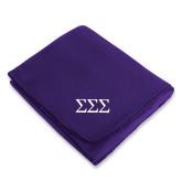 Purple Arctic Fleece Blanket-Greek Letters - One Color