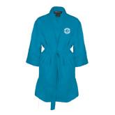 Aqua Waffle Kimono Robe-Monogram in Circle