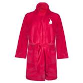 Ladies Pink Raspberry Plush Microfleece Shawl Collar Robe-Sailboat