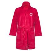 Ladies Pink Raspberry Plush Microfleece Shawl Collar Robe-Monogram in Circle