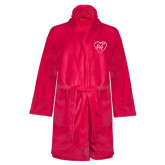 Ladies Pink Raspberry Plush Microfleece Shawl Collar Robe-Big in Heart