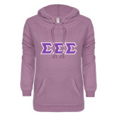 ENZA Ladies Hot Violet V Notch Raw Edge Fleece Hoodie-Tackle Twill