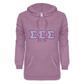 ENZA Ladies Hot Violet V Notch Raw Edge Fleece Hoodie-Glitter Tackle Twill