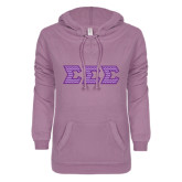 ENZA Ladies Hot Violet V Notch Raw Edge Fleece Hoodie-Lavender Chevron Dye Sub Tackle Twill