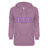 ENZA Ladies Hot Violet V Notch Raw Edge Fleece Hoodie-Lavender Polka Dot Dye Sub Tackle Twill