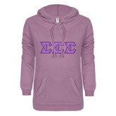 ENZA Ladies Hot Violet V Notch Raw Edge Fleece Hoodie-Lavender India Dye Sub Tackle Twill
