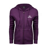 ENZA Ladies Purple Fleece Full Zip Hoodie-Tri Sigma Stacked - Official
