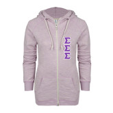 ENZA Ladies Hot Violet Marled Full Zip Hoodie-Tackle Twill Stacked - Medium