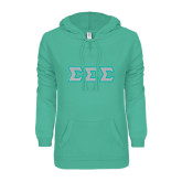 ENZA Ladies Seaglass V Notch Raw Edge Fleece Hoodie-Glitter Tackle Twill