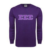 Purple Long Sleeve T Shirt-Tackle Twill