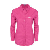 Ladies Tropical Pink Long Sleeve Twill Shirt-Greek Letters - One Color
