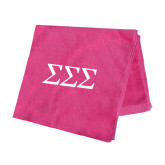 Pink Beach Towel-Greek Letters - One Color