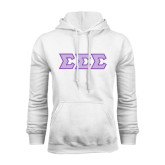 White Fleece Hoodie-Tackle Twill