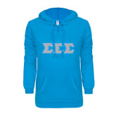ENZA Ladies Pacific Blue V Notch Raw Edge Fleece Hoodie-Glitter Tackle Twill