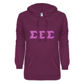 ENZA Ladies Purple V Notch Raw Edge Fleece Hoodie-Glitter Tackle Twill