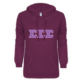 ENZA Ladies Purple V Notch Raw Edge Fleece Hoodie-Lavender Chevron Dye Sub Tackle Twill