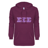 ENZA Ladies Purple V Notch Raw Edge Fleece Hoodie-Lavender Lace Dye Sub Tackle Twill