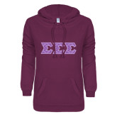 ENZA Ladies Purple V Notch Raw Edge Fleece Hoodie-Lavender India Dye Sub Tackle Twill