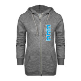 ENZA Ladies Grey/Black Marled Full Zip Hoodie-Tackle Twill Stacked - Medium