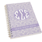 Clear 7 x 10 Spiral Journal Notebook-India Purple Pattern