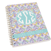 Clear 7 x 10 Spiral Journal Notebook-Tricolor Chalk Pattern