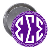 2.25 inch Round Button-Monogram Chevron Pattern
