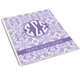 College Spiral Notebook w/Clear Coil-India Purple Pattern