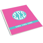 College Spiral Notebook w/Clear Coil-Rasberrry Dot Pattern