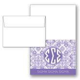Designer Folded Notecards/Envelopes w/Lavender India Pattern 10/pkg-India Purple Pattern